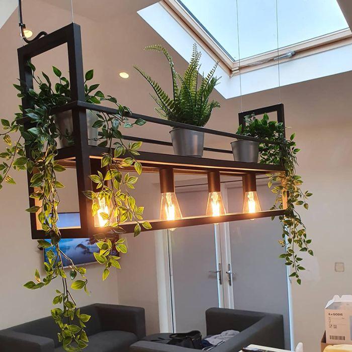 Lampe-à-suspension-industrielle-noire-avec-support-à-4-lumières---Cage-Rack
