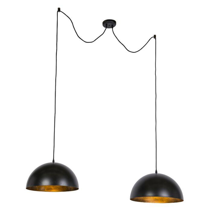 Lampes-à-suspension-industrielles-noires-avec-or-50-cm-2-lumières---Magna-Basic