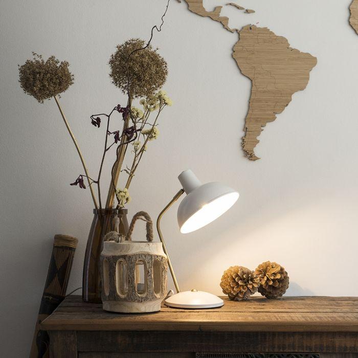 Lampe-de-table-rétro-blanc-avec-bronze---Milou