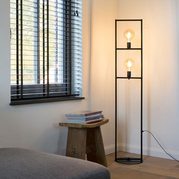 Lampadaire-industriel-2-lumières-noir---Simple-Cage