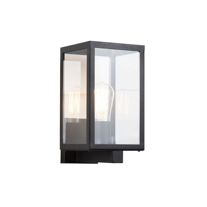Applique-extérieure-rectangulaire-moderne-noire-avec-verre---Rotterdam