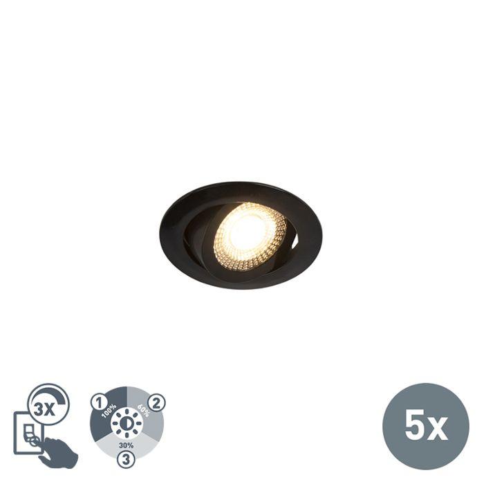 Lot-de-5-spots-encastrables-noir-avec-LED-dimmable-en-3-étapes---Mio