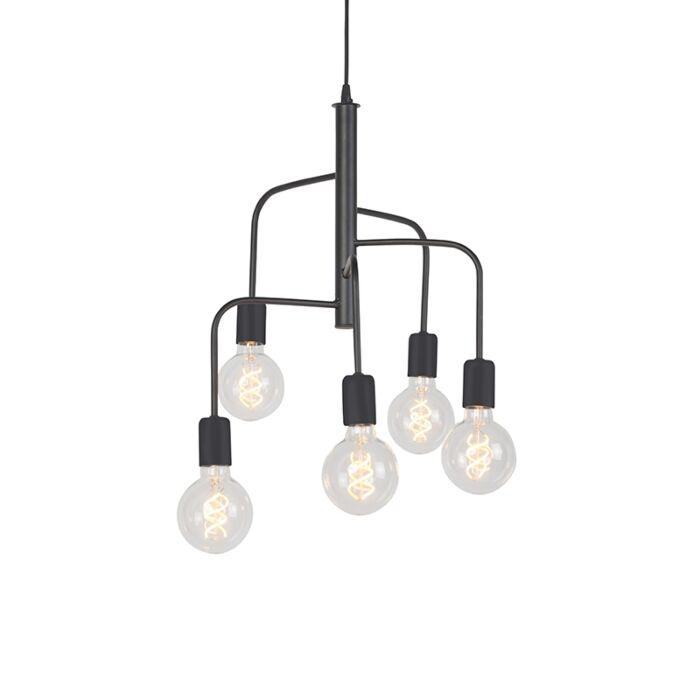 Suspension-moderne-noire-5-lumières---Facile