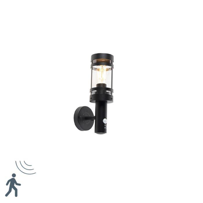 Applique-murale-exterieure-noire-avec-capteur-de-mouvement-IP44---Gleam