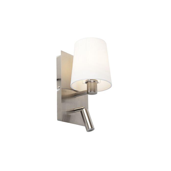 Applique-moderne-acier-abat-jour-blanc-LED-incl.---Merlot