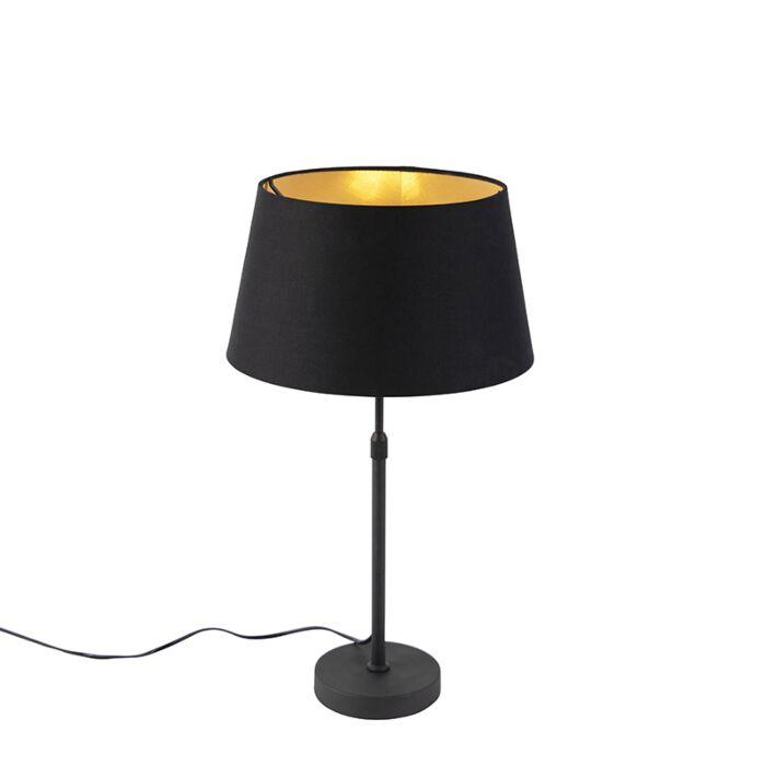 Lampe de table noir avec abat jour noir avec or 35 cm Parte