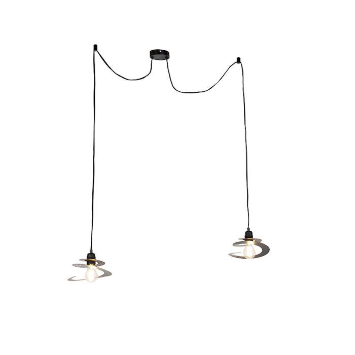 Lampe-à-suspension-design-2-lumières-avec-abat-jour-en-spirale-20-cm---Scroll