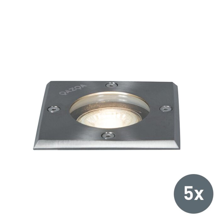 Jeu-de-5-spots-de-sol-en-acier-IP65---Basic-Square