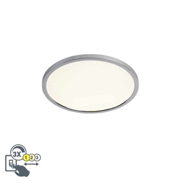 Plafonnier-rond-moderne-chrome-45-cm-avec-LED-IP44---Plat