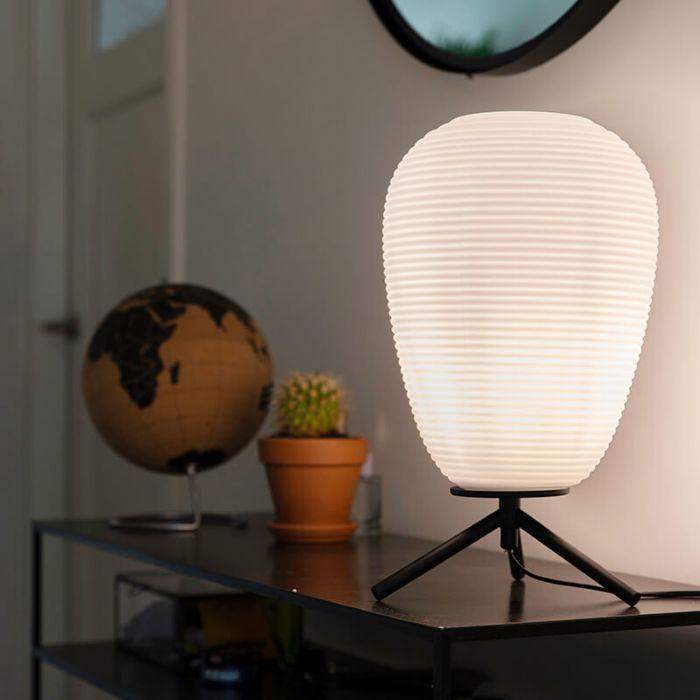 Lampe-de-table-design-en-verre-noir-24-cm-avec-verre-opale---Hero