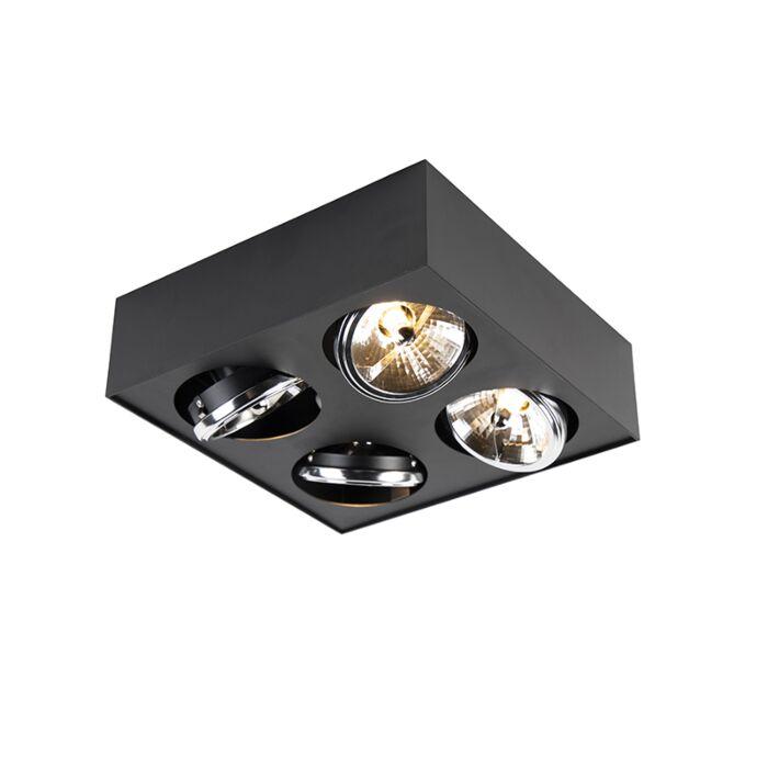 Spot-design-carré-4-lumières-noir---Kaya
