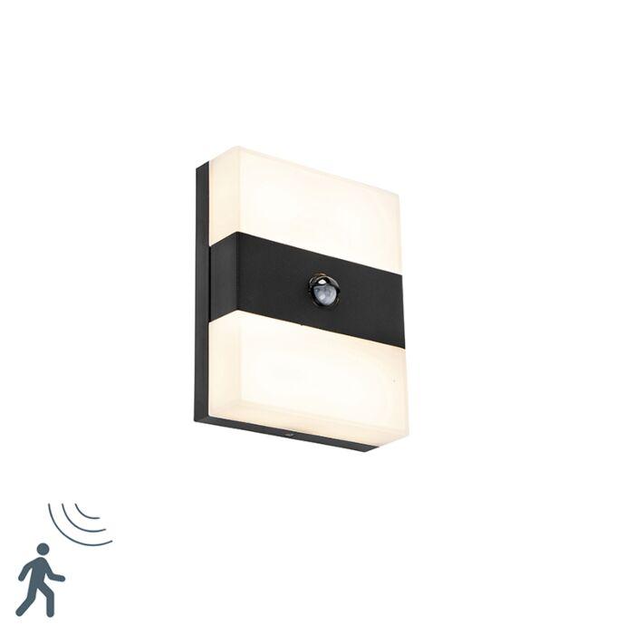Applique-murale-exterieure-noire-IP44-avec-LED-avec-detecteur-de-mouvement---Dualy