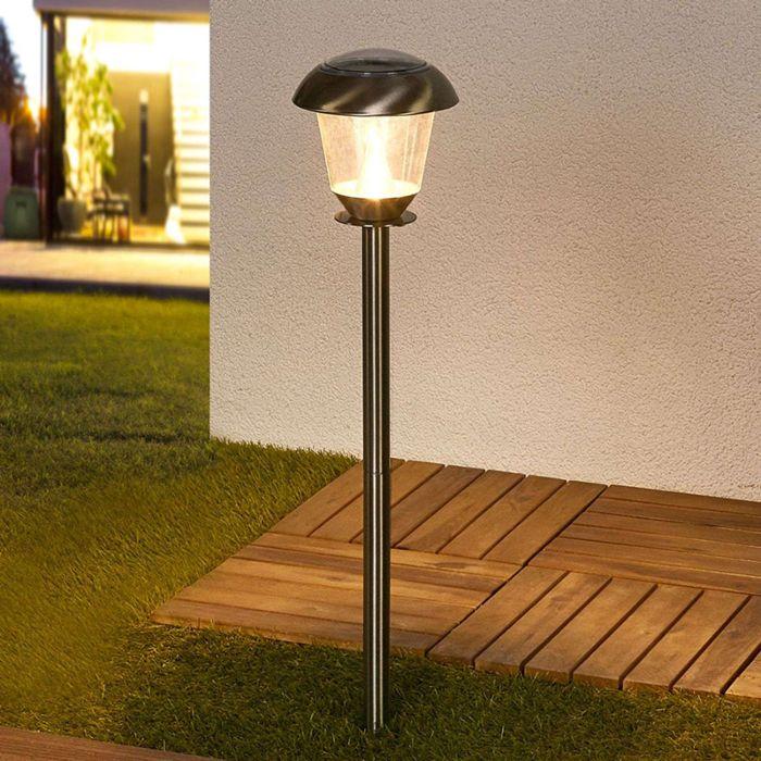 Lampe-d'extérieur-classique-en-acier-inoxydable-avec-LED-sur-l'énergie-solaire---Nela