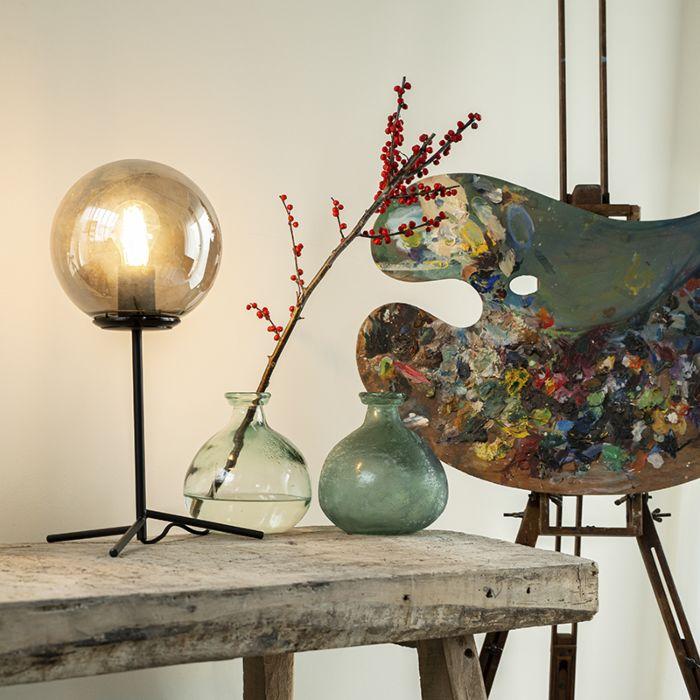 Lampe-de-table-art-déco-noir-avec-verre-fumé-45,5-cm---Pallon