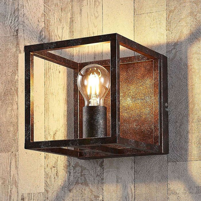 Applique-murale-carrée-rurale-brun-rouille---Cage