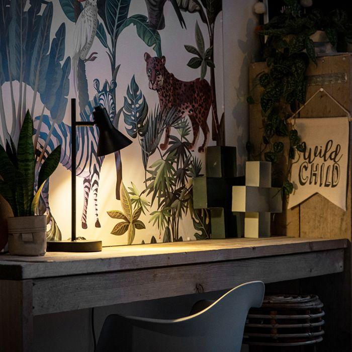 Lampe-de-table-moderne-noire-avec-lumière-dorée-à-1-lumière---Magno