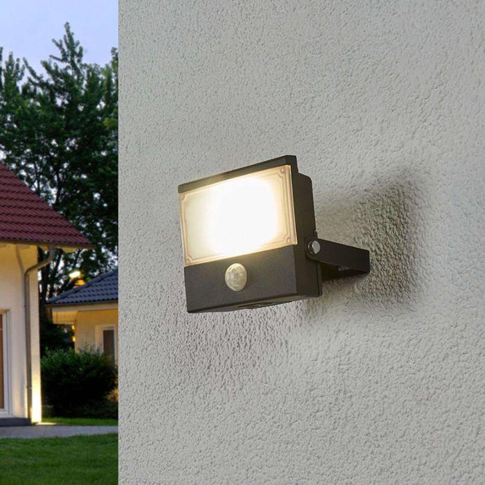 Lampe-d'extérieur-élégante-anthracite-avec-détecteur-de-mouvement-avec-LED---Auron